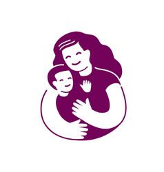 Mom and baby symbol motherhood logo vector