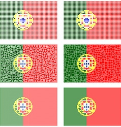 Mosaic Portugal flag set vector
