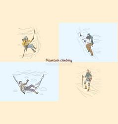 Mountain rock climbing alpinists using vector