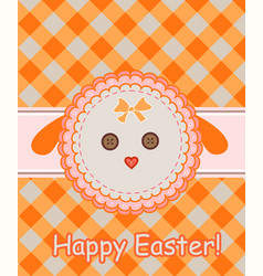 Napkin with dolly sheep for easter greeting vector