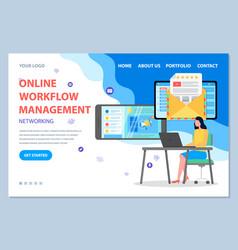 Networking online workflow management vector