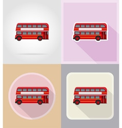 old retro transport flat icons 16 vector image