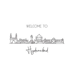 One continuous line drawing hyderabad city vector