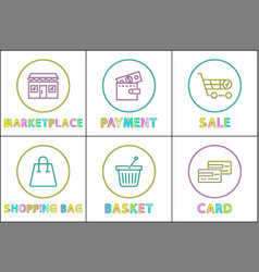 online shopping buttons round linear templates set vector image