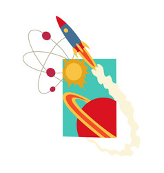 open book with solar system space shuttle vector image