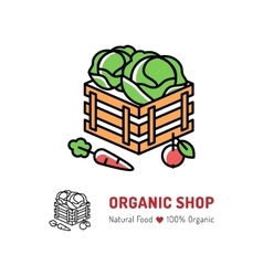 Organic farming Natural food logo isolated vector image