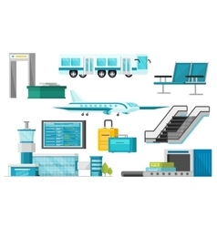 Orthogonal Airport Elements Set vector image