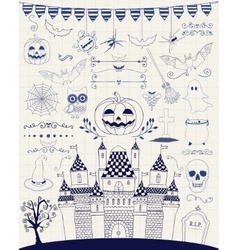 Pen Drawing Hand Sketched Doodle Halloween vector image