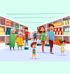 People family shopping in supermarket vector