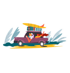 people in camper van and surfboards on vacation vector image