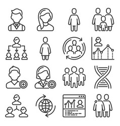 population people icons set on white background vector image