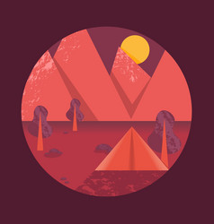 poster with a mountain landscape and a tent vector image