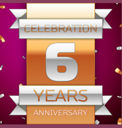 Realistic six years anniversary celebration design vector