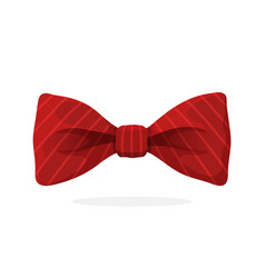 Red bow tie with print in diagonal stripes vector