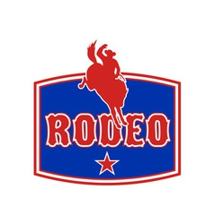 Rodeo cowboy bucking bronco vector