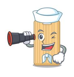 Sailor with binocular wooden cutting board mascot vector