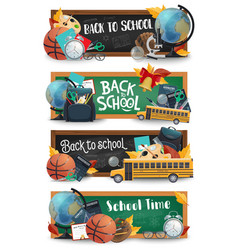 school blackboard education supplies bus banners vector image