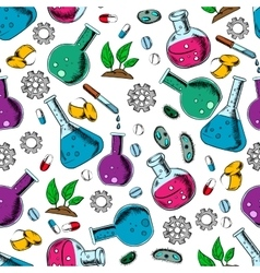 Scientific laboratory research seamless pattern vector
