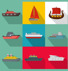 Seagoing vessel icons set flat style vector