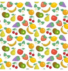 seamless pattern with apples strawberries lemons vector image