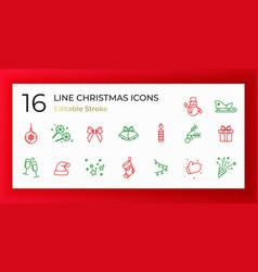 Set christmas icons thin line vector