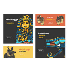 set of banners with ancient egypt symbols vector image