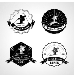 set of skiing logos emblems and design vector image