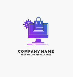 shopping online ecommerce services cart purple vector image