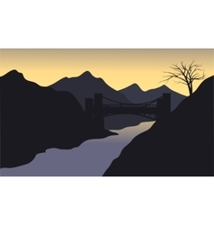 Silhouette of river with black background vector image
