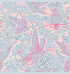 Sketch pattern with hummingbirds and vector