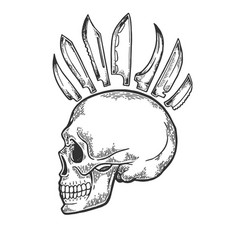 skull with mohawk hairstyle engraving vector image