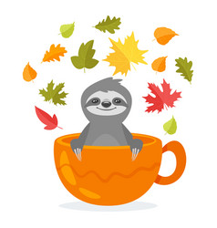 Sloth character sitting in cup vector