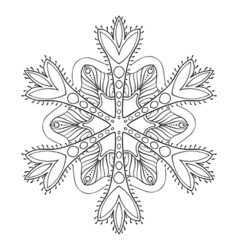 Snow flake in entangle style freehand doodle vector
