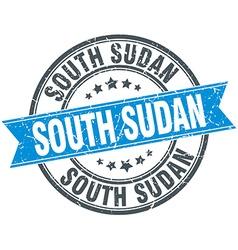 South Sudan blue round grunge vintage ribbon stamp vector image vector image