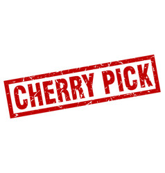 Square grunge red cherry pick stamp vector