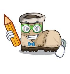 Student working boot in shape cartoon beautiful vector