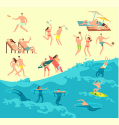 sunbathing playing and swimming people in summer vector image