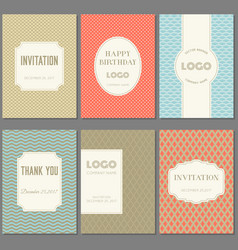 Template collection in vintage pattern with badges vector