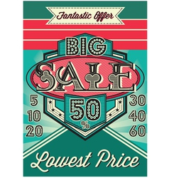 template vintage poster for the big sale vector image