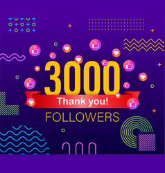 Thank you 3000 followers numbers congratulating vector
