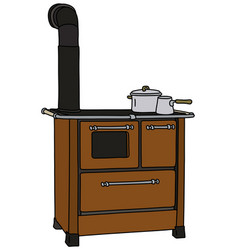 the old brown kitchen stove vector image