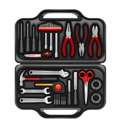 Tool Box With Toolkit Set vector