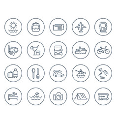 Travel tourism line icons on white vector