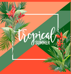tropical flowers and palms summer banner vector image