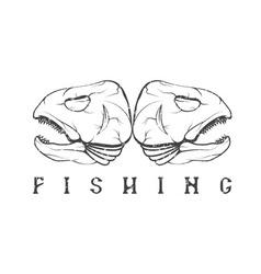 Vintage fishing grunge emblem with skulls of trout vector
