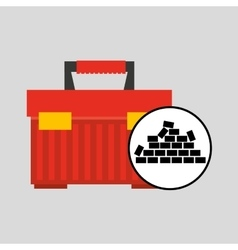 Wall brick tool box design vector