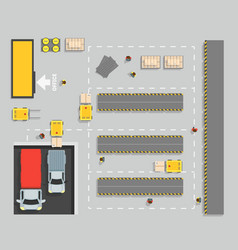Warehouse top view scheme map and elements part vector