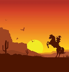 Wild west american desert landscape with cowboy on vector image