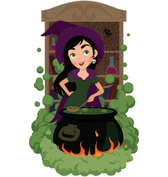Witch cooks potion vector image