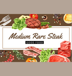 World food day frame design with beef steak vector